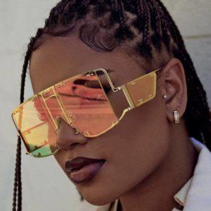 Futuristic Fashion Square Sunglasses Women New Oversized Shades Glasses Luxury Brand Metal Rivet Trend Unique Female Eyewear