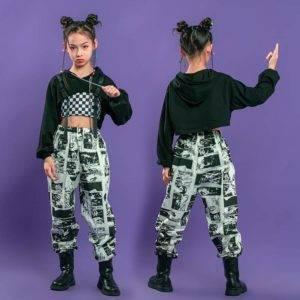 Girl's Manga Print Techwear Crop Top and Jogger Pants Set