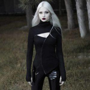 Gothic Black Hollow Out Slim Long Sleeve T-shirt Women Casual Zipper Open Turtleneck Techwear Tees