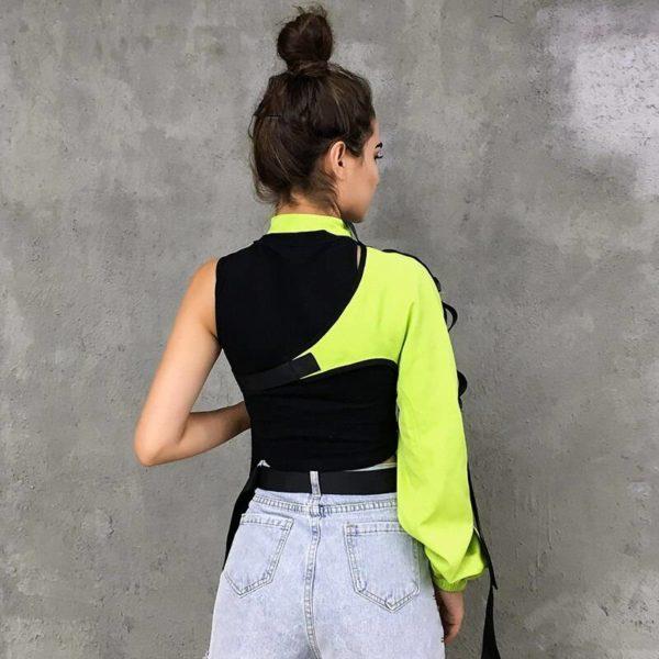 HEYounGIRL Neon Green One Shoulder Off Halter Top Harajuku Black Reflective Tshirt Women Hip Hop Street Wear Tee Shirt Femme