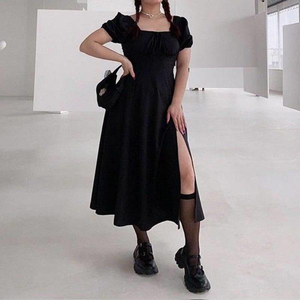 HOUZHOU Gothic Plus Size Dress Women 4XL Black Sexy Square Collar Split A-line Midi Dress Summer Korean Fashion Streetwear Goth