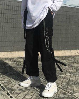 Harajuku Black Cargo Pants Men Women Punk Streetwear Korean Style Fashion High Waist Pants Spring Plus Size Trousers Male
