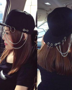 Harajuku Fashion SWAG Rivet Chains Baseball Caps Hip Hop Hat Iron Hoop Snapback Cap Trend Couple Dance Baseball Cap For Women