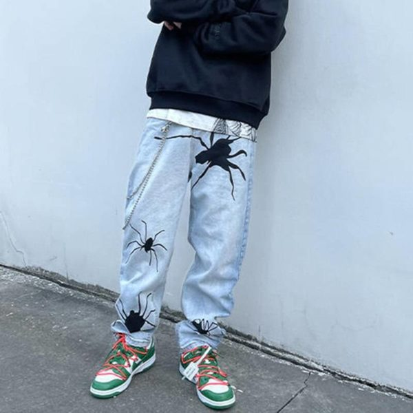 Harajuku Spider Embroidery Washed Retro Mens Jeans Straight High Street Oversize Ripped Denim Trousers Loose Hip Hop Jean Pants