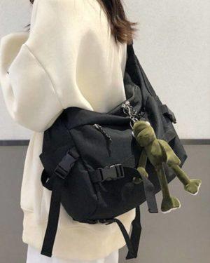 Harajuku Techwear Canvas Sling Bag Gothic Crossbody Bags For Women Handbag Purses And Handbags Bolsas Feminina Shoulder Bag Frog