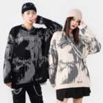 Hip Hop Men's Sweater Pullover Autumn And Winter Harajuku Streetwear Print High Street Female Knitted Sweater Coat Loose Tops