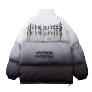 Hip Hop Oversized Jacket Parka Gradient Streetwear 2021 Mens Jacket Harajuku Cotton Winter Padded Jacket Coat Warm Outwear Blue
