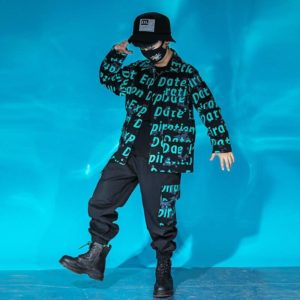 Kid Cool Hip Hop Clothing Letters Print Jacket Top Coat Tactical Cargo Pants for Girl Boy Jazz Dance Costume Clothes Street Wear