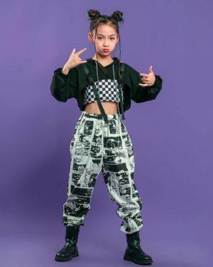 Kid Hip Hop Clothing Black Hoodie Sweatshirt Crop Top Long Sleeve Shirt Streetwear Print Jogger Pants for Girls Dance Costume
