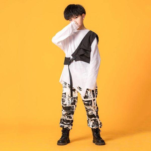 Kid Hip Hop Clothing Oversized Shirt One Shouler Top Streetwear Harajuku Jogger Pants for Girls Boys Dance Costume Clothes Set