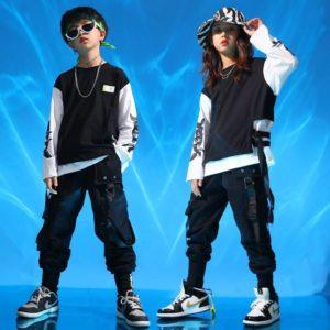 Kid Hip Hop Clothing Sweatshirt Oversized Shirt Top Streetwear Harajuk Tactical Cargo Pants for Girls Boys Dance Costume Clothes