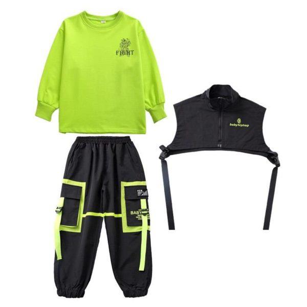 Kid Hip Hop Clothing Sweatshirt Top Streetwear Tactical Cargo Pants Sleeveless Jacket Vest for Girls Boys Dance Costume Clothes