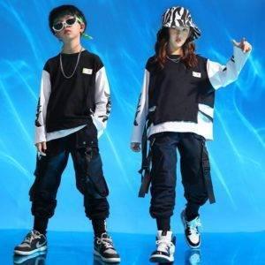 Kid's Black and White Techwear Sweatshirt and Cargo Pants Set