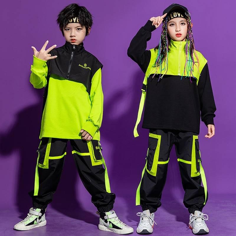 Kid's Neon Green Color Block Techwear Sweatshirt and Pants Set