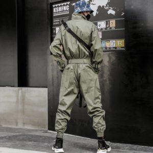 LACIBLE 2020 Hip Hop Streetwear Jumpsuits Men Ribbon Embroidered Cargo Pants Long Sleeve Rompers Joggers Techwear Men
