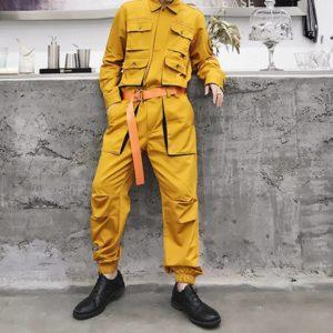 LACIBLE Techwear Overalls Hip Hop Streetwear Jumpsuit Men Fashion Multi Pockets Ribbons Cargo Pants Long Sleeve Rompers Joggers