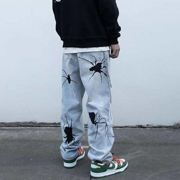 Men's Black Spider Washed Color Streetwear Jeans