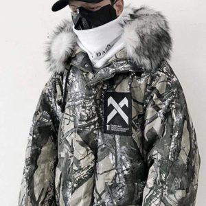 Men's Camouflage Print Oversized Techwear Parka