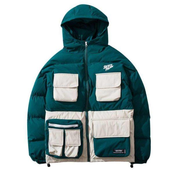 Men's Color Block Pockets Hooded Techwear Winter Jacket