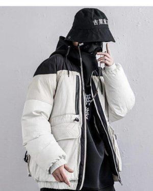 Men's Color Block Thicken Techwear Winter Jacket