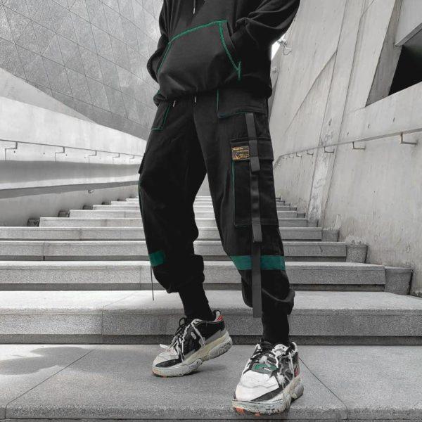 Men's Color Detail Techwear Style Jogger Pants
