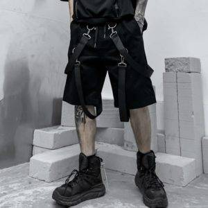 Men's Cotton Tactical Straps Oversized Techwear Shorts