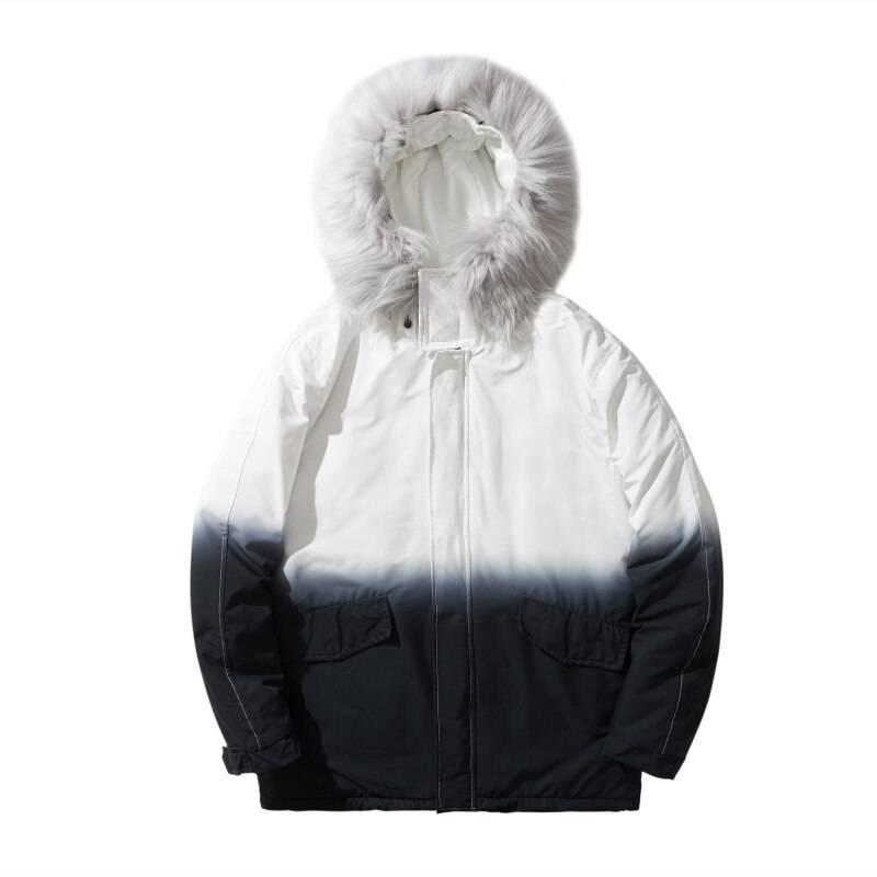 Men's Gradient Color Winter Techwear Parka