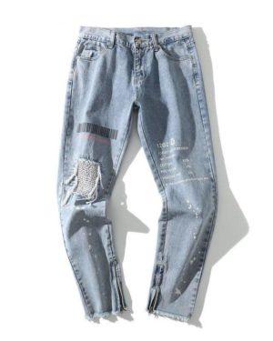 Men's Light Blue Color Ripped Streetwear Jeans