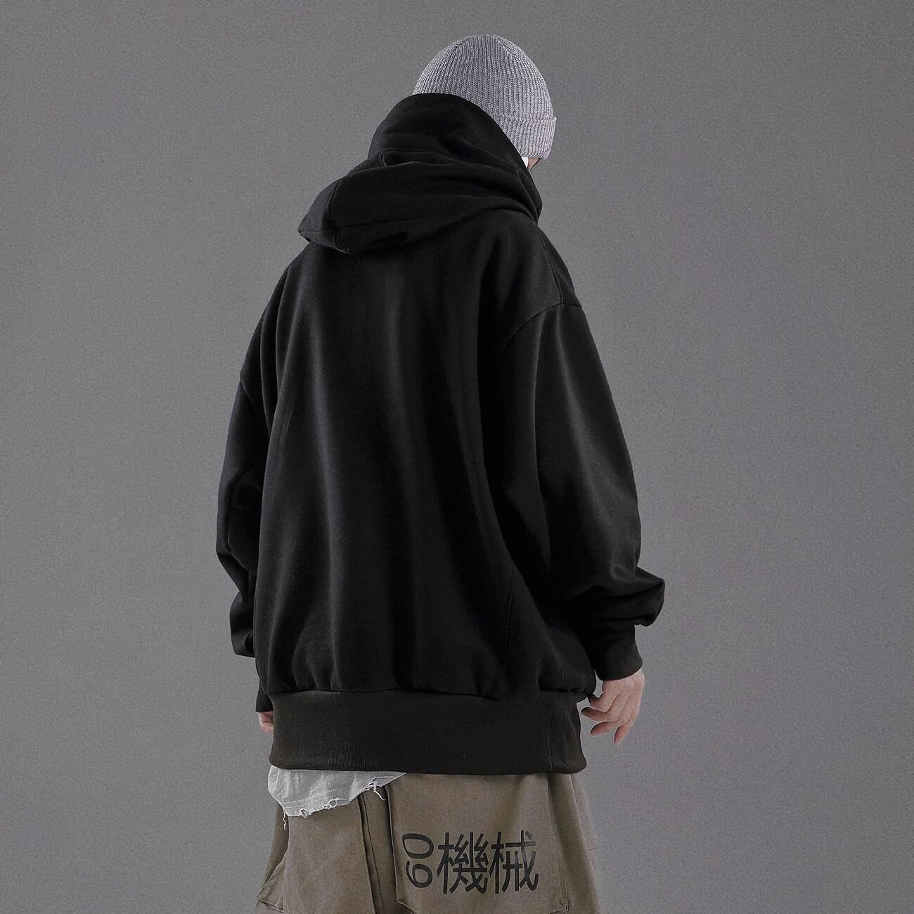 Men's Ninja Style Double Neckline Oversized Hoodie