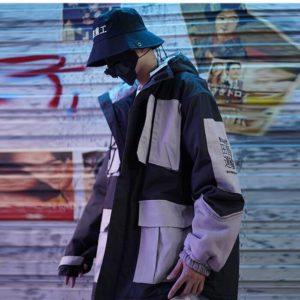 Men's Patchwork Oversized Padded Techwear Windbreaker