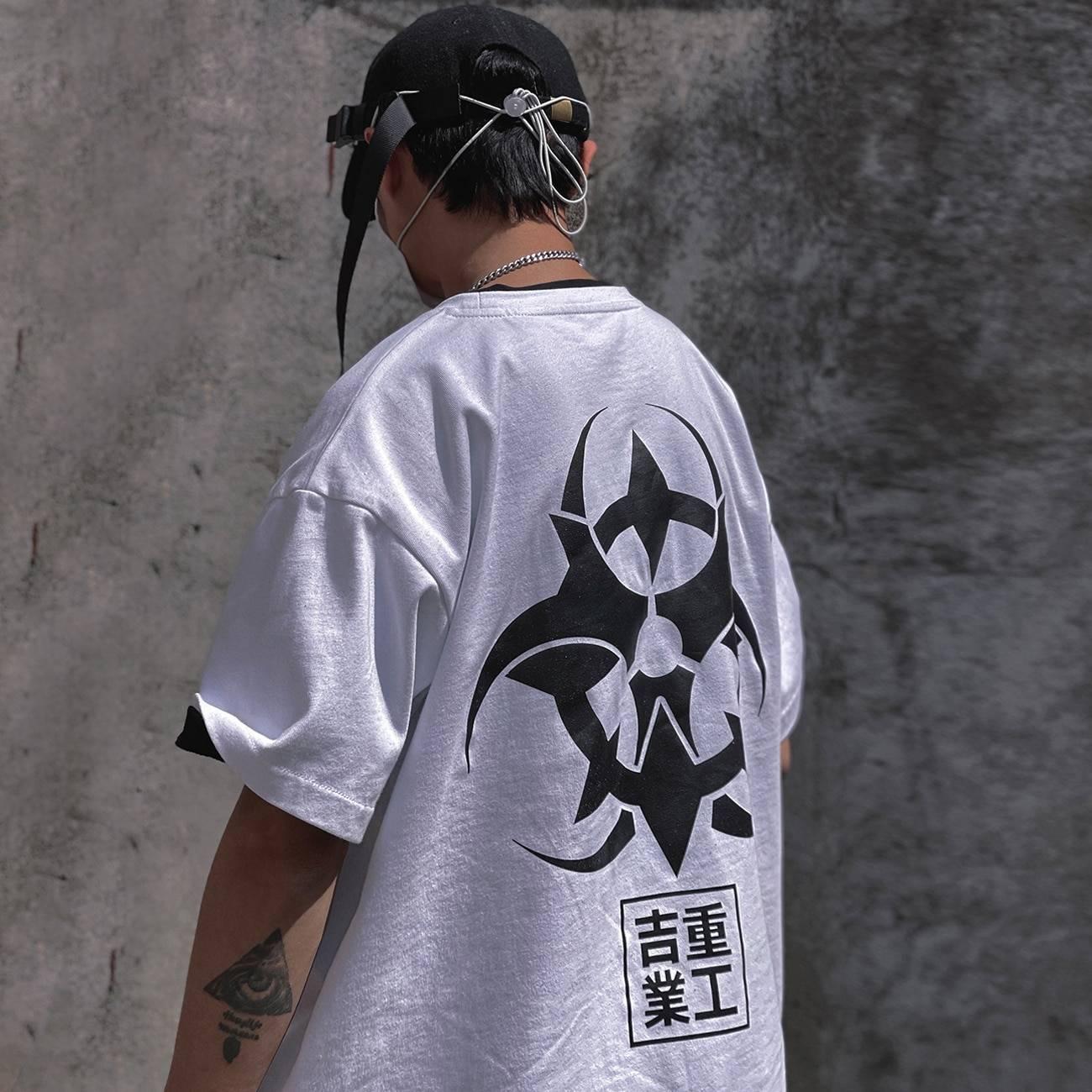 Men's Radiation Sign Oversized Techwear T-Shirt