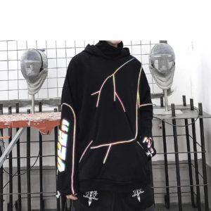 Men's Reflective Lightning Techwear Hoodie