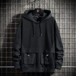 Men's Solid Black Cargo Pockets Techwear Hoodie