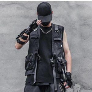 Men's Solid Black Cargo Techwear Vest
