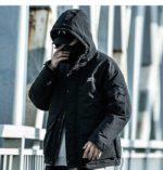 Men's Solid Black Padded Techwear Windbreaker