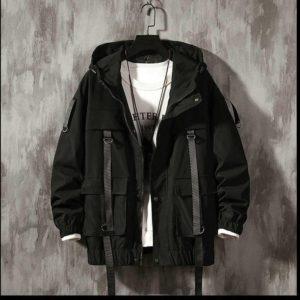 Men's Solid Black Tactical Straps Techwear Parka