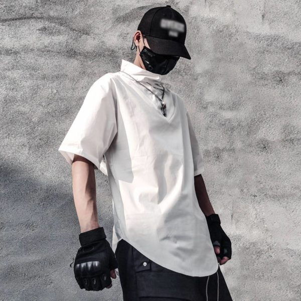 Men's Solid Color Cotton Minimalist Techwear T-Shirt