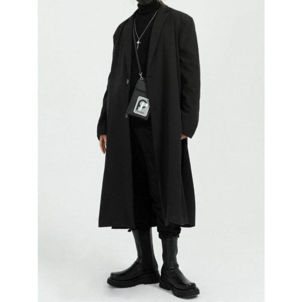 Men's Solid Color Long Oversized Techwear Coat