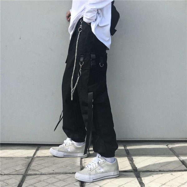 Men's Tactical Straps Techwear Cargo Pants with Chains