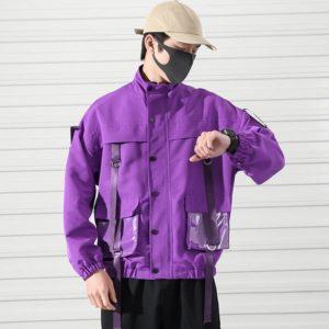 Men's Transparent Pockets Oversized Techwear Bomber Jacket
