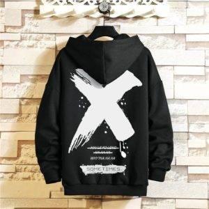 Men's X-Print Plus Size Techwear Hoodie
