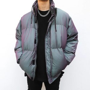 Mens Reflective Jackets and Coats Casual Zipper Stand-collar Warm Cotton Padded Bomber Outerwear Hip Hop Streetwear Winter Coat