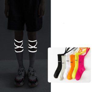 Neon Color Techwear Socks With Fluorescent Straps