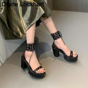 Neon Green PVC Jelly Sandals Open Toe Lace-up Gladiator High Heels Summer Shoes Platform Heel Transparent Sandals Big Size 43