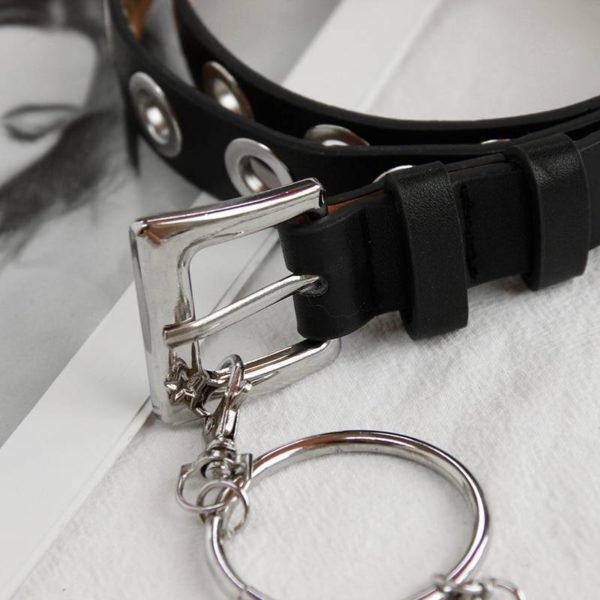 New Gothic Faux Leather Belt lady silver pin Metal Chain Ring Waist Strap Street Dance Decorate belts for women girl jeans black