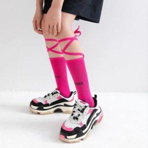 One Pair Fluorescent Bandage Socks Female Letter Printed Fashion Nightclub Personality Reflective Cross Sport Skateboard Socks
