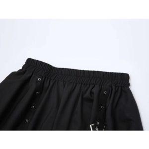 Oversized Streetwear Gothic Skirts Women 2021 Summer High Waist Irregular Black Skirts Female Punk Belt Patchwork Tide Clothes