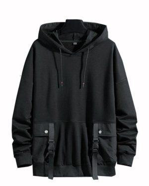 Pullover Hoodies Men/Women Casual Hooded Black Ribbons 2021 Autumn Streetwear Sweatshirts Hip Hop Harajuku Male Tops