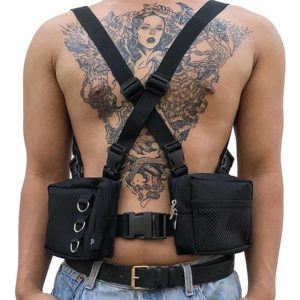 Punk Chest Waist Bag Hip-Hop Tactical Streetwear Pack Unisex Outdoor Functional Vest Bags Two Pockets Harness Rig Bag XA139M