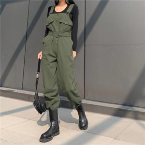 Punk Overalls Women Jumpsuits Pants Green Sashes Buckle Strappy Slim Autumn High Waist Winter Streetwear Harajuku Lady Jumpsuits